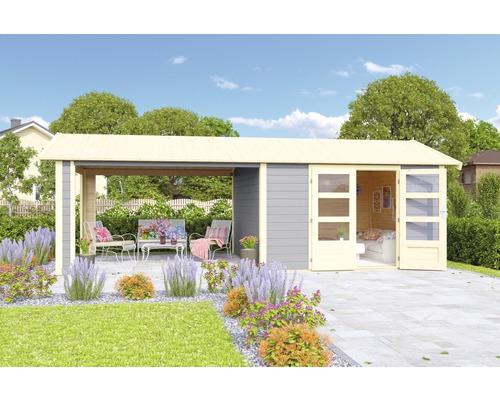 Gartenhaus Karibu She Shed Darling 7 mit Schleppdach und Fußboden 600 x 304 cm terragrau