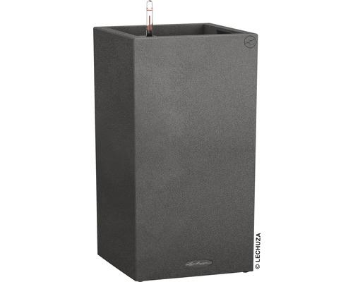 Pflanzvase Lechuza Canto Stone Kunststoff 30x30x56 cm schwarz inkl. Erdbewässerungssystem