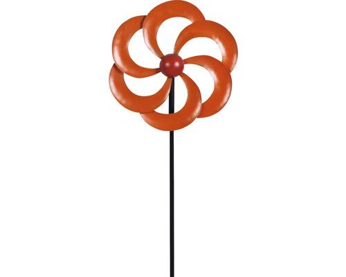 Windrad Lafiora Blume Metall H 130 cm orange-rot
