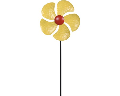Windrad Lafiora Blume Metall H 130 cm gelb