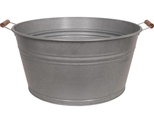 Zinkwanne mit Holzhenkel 49,5x39x25 cm 36 L old zinc
