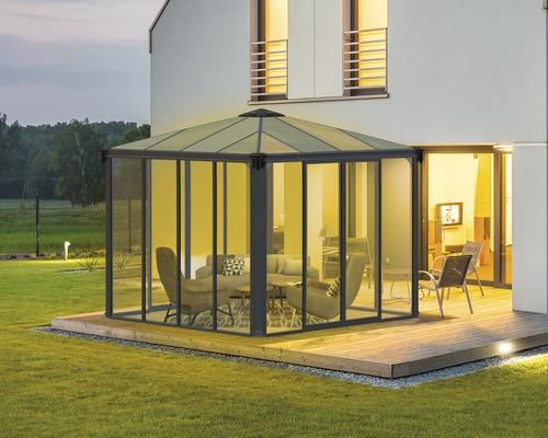 Pavillon PALRAM Ledro 3000 geschlossen Hohlkammerpaneele aus Polycarbonat 295 x 295 cm grau