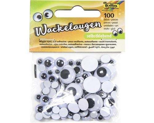 Wackelaugen selbstklebend weiß 100 Stück