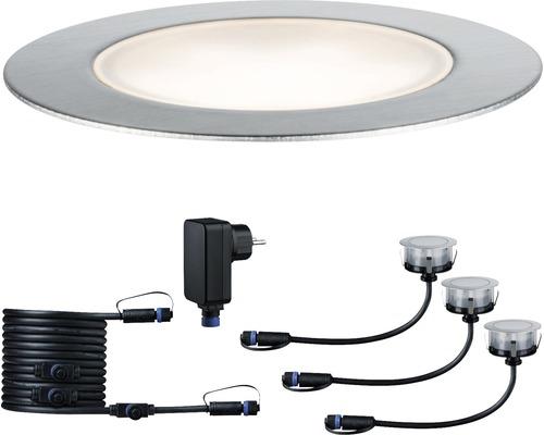 Paulmann Plug & Shine LED Bodeneinbauleuchten-Basisset Floor IP65 3x1W 3x100 lm 3000 K warmweiß Ø 70/63 mm silber 230/24V 3 Stück
