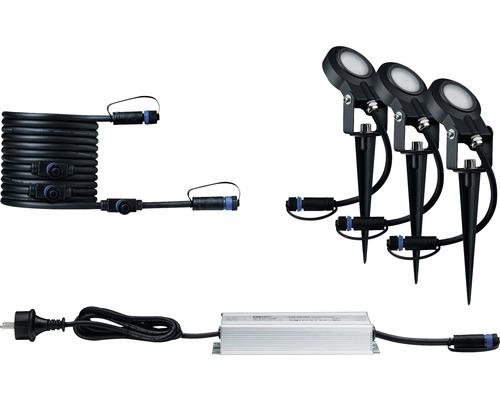Paulmann Plug & Shine LED Erdspieß Basisset IP67 dimmbar 3x6W 270 lm 3000 K warmweiß anthrazit 230/24V 3 Stück