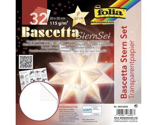 Bascetta-Stern Set, transparentes Papier 20x20 cm weiß