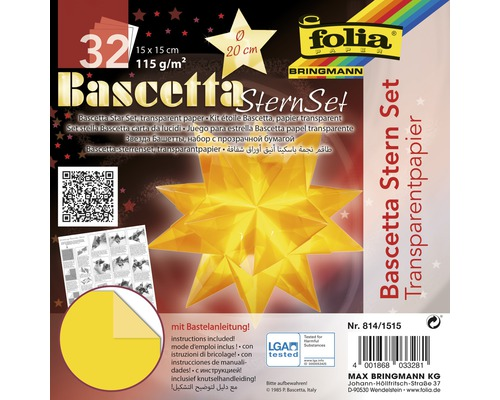 Bascetta-Stern Set, transparentes Papier 15x15 cm gelb