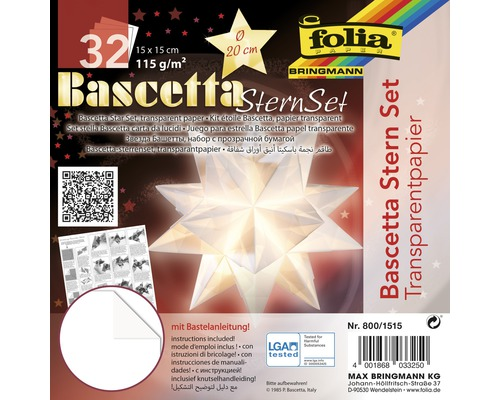 Bascetta-Stern Set, transparentes Papier 15x15 cm weiß