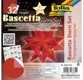 Bascetta-Stern Set, transparentes Papier 15x15 cm rot