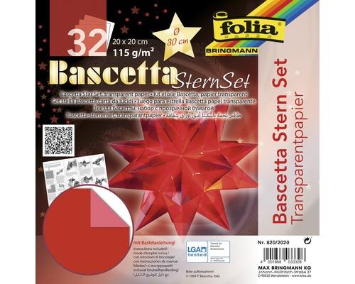 Bascetta-Stern Set, transparentes Papier 20x20 cm rot