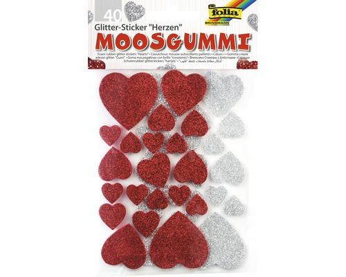 Moosgummi Glitter-Sticker Herzen 40-tlg.