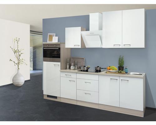 Küchenzeile Abaco 270 cm inkl. Einbaugeräte perlmutt/akazie-dekor