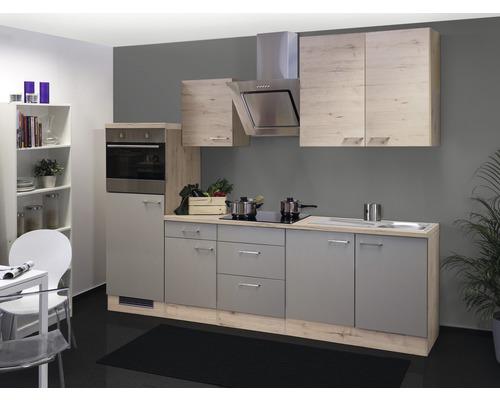 Küchenzeile Riva 270 cm inkl. Einbaugeräte quarzit cubanit/san remo eiche hell