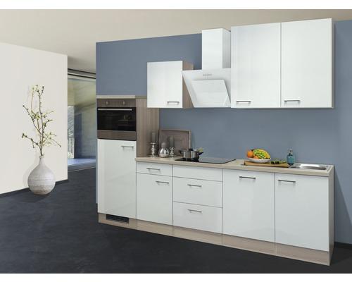 Küchenzeile Abaco 280 cm inkl. Einbaugeräte perlmutt/akazie-dekor