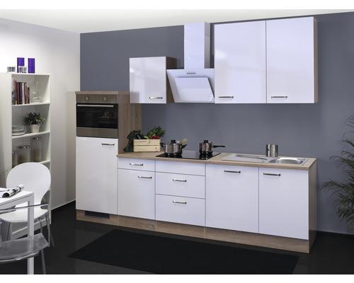Küchenzeile Valero 280 cm inkl. Einbaugeräte weiß hochglanz/sonoma eiche