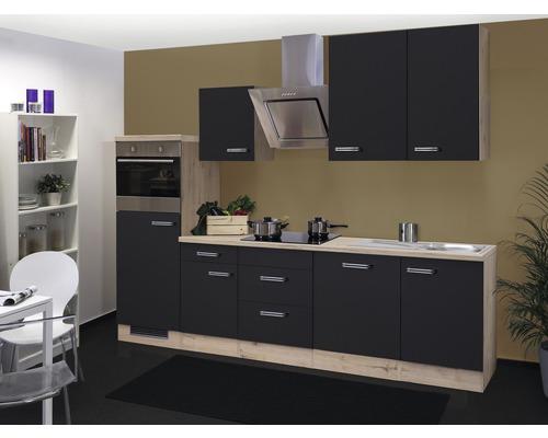 Küchenzeile Santo 280 cm inkl. Einbaugeräte anthrazit/san remo eiche hell