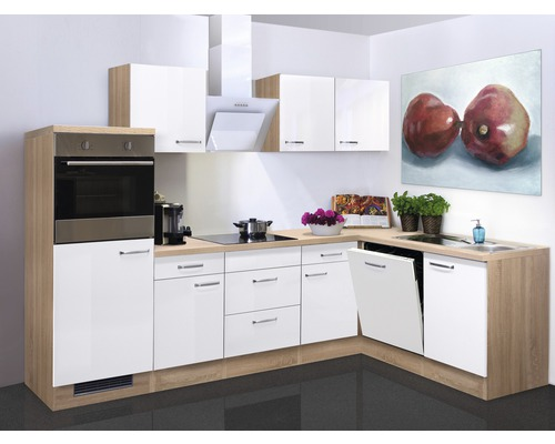 Winkelküche Valero 280 cm inkl. Einbaugeräte weiß hochglanz/sonoma eiche