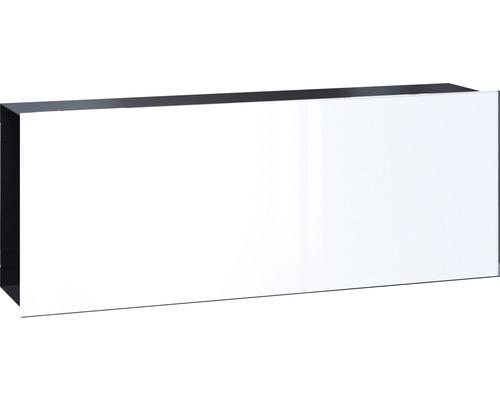 Serafini Zeitungsfach Stahlblech BxHxT 422/161/95 mm FLAT WIDE Front Glas verkehrsweiß Korpus schwarz 30.7187.43