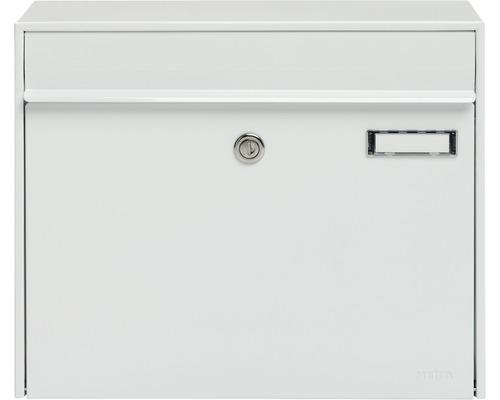 MEFA Briefkasten Stahl pulverbeschichtet BxHxT 385/310/137 mm Vals 101 Verkehrsweiß RAL 9016 glänzend Entnahme vorne mit Klappe Namensschild