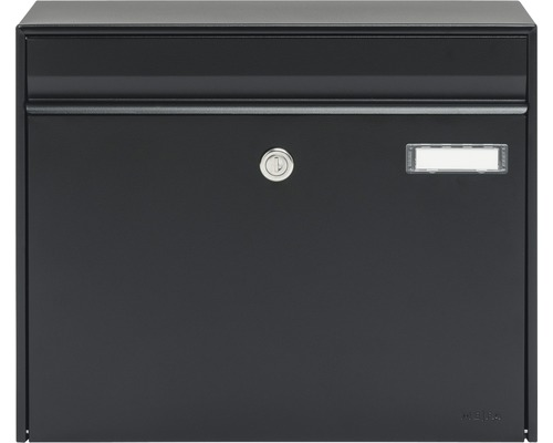 MEFA Briefkasten Stahl pulverbeschichtet BxHxT 385/310/137 mm Vals 101 Tiefschwarz RAL 9005 semimatt Entnahme vorne mit Klappe Namensschild
