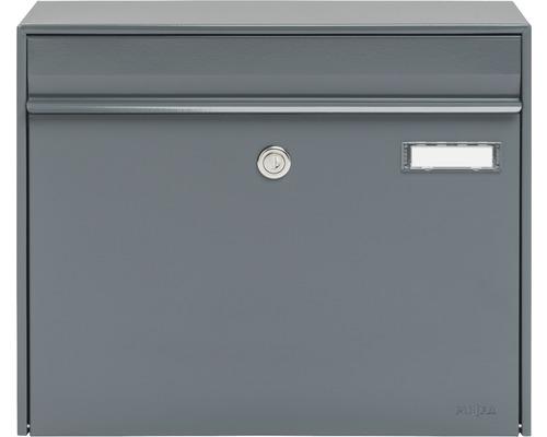MEFA Briefkasten Stahl pulverbeschichtet BxHxT 385/310/137 mm Vals 101 Basaltgrau RAL 7012 semimatt Entnahme vorne mit Klappe Namensschild