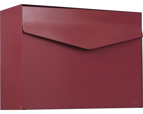 MEFA Briefkasten Stahl pulverbeschichtet BxHxT 430x312x178 mm Letter 111 Oxydrot RAL 3009 semimatt ohne Namensschild mit Klappe