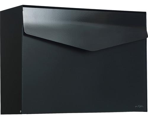 MEFA Briefkasten Stahl pulverbeschichtet BxHxT 430x312x178 mm Letter 111 Tiefschwarz RAL 9005 semimatt ohne Namensschild mit Klappe
