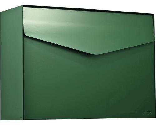 MEFA Briefkasten Stahl pulverbeschichtet BxHxT 430x312x178 mm Letter 111 Moosgrün RAL 6005 semimatt ohne Namensschild mit Klappe