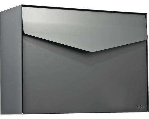 MEFA Briefkasten Stahl pulverbeschichtet BxHxT 430x312x178 mm Letter 111 Basaltgrau RAL 7012 ohne Namensschild mit Klappe