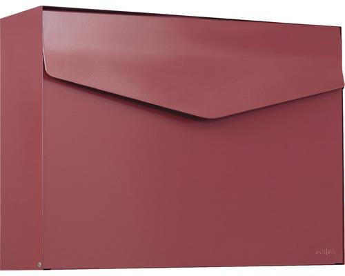 MEFA Briefkasten Stahl pulverbeschichtet BxHxT 430x312x128 mm Letter 112 Oxydrot RAL 3009 semimatt ohne Namensschild mit Klappe