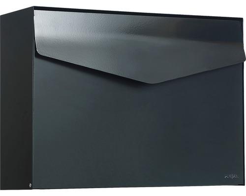MEFA Briefkasten Stahl pulverbeschichtet BxHxT 430x312x128 mm Letter 112 Tiefschwarz RAL 9005 semimatt ohne Namensschild mit Klappe