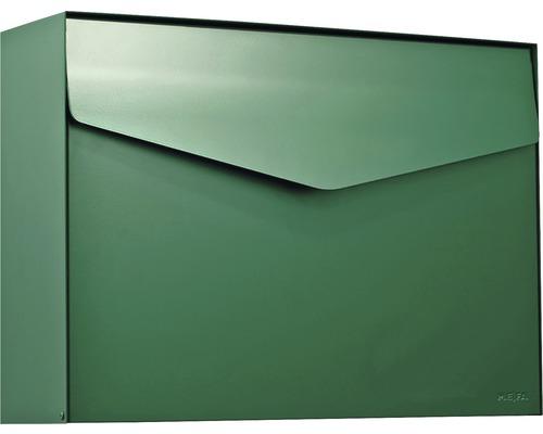 MEFA Briefkasten Stahl pulverbeschichtet BxHxT 430x312x128 mm Letter 112 Moosgrün RAL 6005 semimatt ohne Namensschild mit Klappe