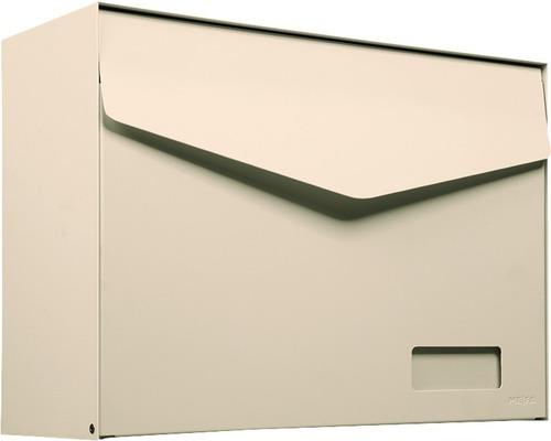 MEFA Briefkasten Stahl pulverbeschichtet BxHxT 430x312x178 mm Letter 113 Elfenbein RAL 1014 semimatt mit Namensschild + Klappe