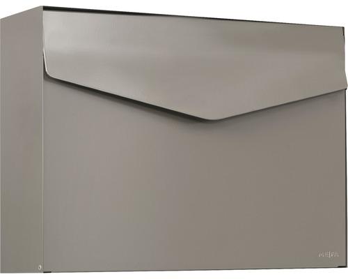 MEFA Briefkasten Stahl pulverbeschichtet BxHxT 430x312x128 mm Letter 112 Beigegrau RAL 7006 semimatt ohne Namensschild mit Klappe