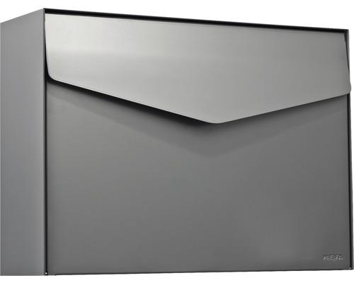 MEFA Briefkasten Stahl pulverbeschichtet BxHxT 430x312x128 mm Letter 112 Basaltgrau RAL 7012 semimatt ohne Namensschild mit Klappe