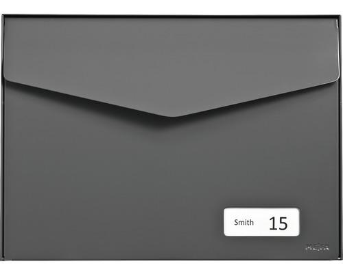 MEFA Briefkasten Stahl pulverbeschichtet BxHxT 430x312x178 mm Letter 113 Basaltgrau RAL 7012 semimatt mit Namensschild + Klappe