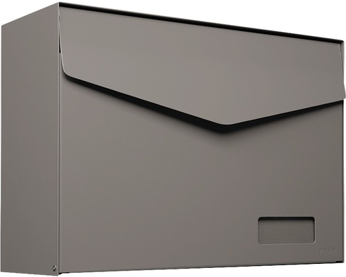 MEFA Briefkasten Stahl pulverbeschichtet BxHxT 430x312x178 mm Letter 113 Beigegrau RAL 7006 semimatt mit Namensschild + Klappe