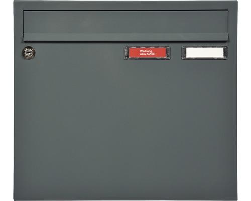 MEFA Briefkasten Stahl pulverbeschichtet BxHxT 370/330/100 mm Sonate 132 Basaltgrau RAL 7012 Struktur mit 2 Namensschildern + Klappe