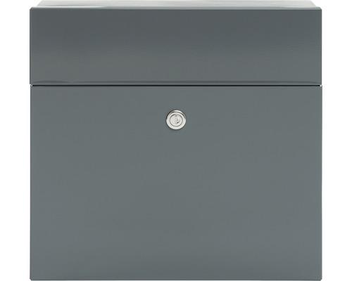 MEFA Briefkasten Stahl pulverbeschichtet BxHxT 371/335/112 mm Serenade 161 Basaltgrau RAL 7012 Entnahme vorne mit Klappe