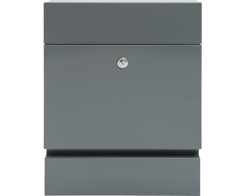 MEFA Briefkasten Stahl pulverbeschichtet BxHxT 371/465/112 mm Serenade 163 Basaltgrau RAL 7012 semimatt mit Zeitungsfach + Klappe Entnahme vorne