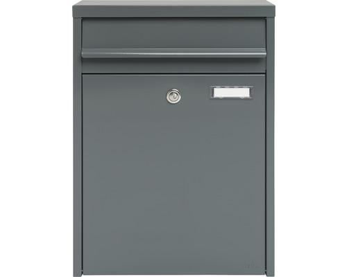 MEFA Briefkasten Stahl pulverbeschichtet BxHxT 345/470/170 mm Piano 350 Basaltgrau RAL 7012 semimatt mit Namensschild + Klappe