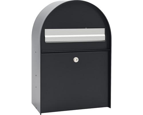 MEFA Briefkasten Stahl pulverbeschichtet BxHxT 380/555/210 mm Amber 400 Tiefschwarz RAL 9005 Entnahme vorne