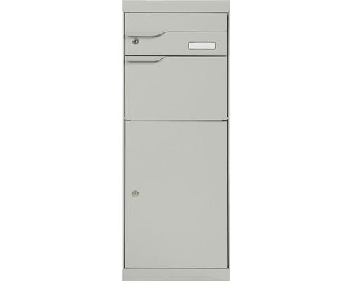MEFA Paketbriefkasten Stahl pulverbeschichtet BxHxT 402/1094/310 mm Etna 771 Weißaluminium RAL 9006 Entnahme vorne 2-fach mit Namensschild