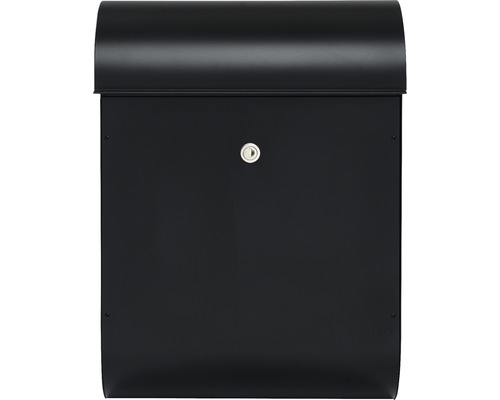 MEFA Briefkasten Stahl pulverbeschichtet BxHxT 365/510/180 mm Quartz 825 Tiefschwarz RAL 9005 Struktur Entnahme vorne