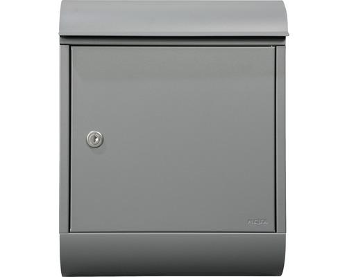 MEFA Briefkasten Briefkasten Stahl pulverbeschichtet BxHxT 340/430/150 mm Topaz 844 Basaltgrau RAL 7012 semitmatt mit Zeitungsrohr Entnahme vorne