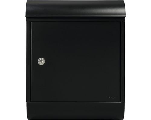 MEFA Briefkasten Briefkasten Stahl pulverbeschichtet BxHxT 340/430/150 mm Topaz 844 Tiefschwarz RAL 9005 semitmatt mit Zeitungsrohr Entnahme vorne