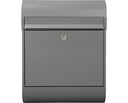 MEFA Briefkasten Briefkasten Stahl pulverbeschichtet BxHxT 350/450/150 mm Ruby 866 Basaltgrau RAL 7012 Entnahme vorne mit Klappe + Zeitungsrolle