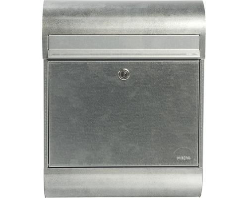 MEFA Briefkasten Briefkasten Stahl verzinkt BxHxT 350/450/150 mm Ruby 866 verzinkt Entnahme vorne mit Klappe + Zeitungsrolle