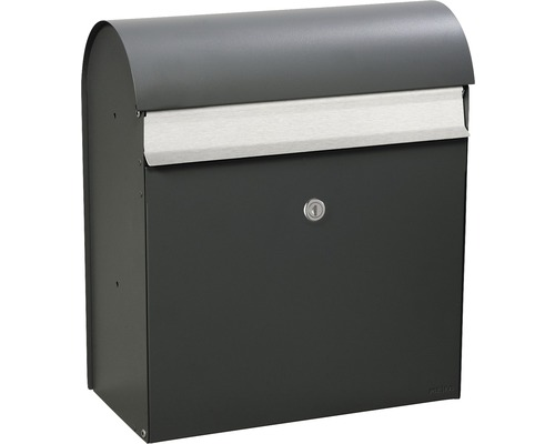 MEFA Briefkasten Briefkasten Stahl pulverbeschichtet BxHxT 365/425/180 mm Jade 870 Basaltgrau RAL 7012 Entnahme vorne mit Klappe