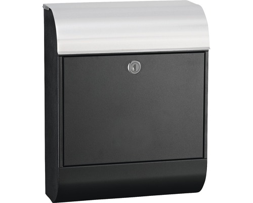 MEFA Briefkasten Edelstahl/gebürstet BxHxT 352/450/160 mm Pearl 872 Tiefschwarz RAL 9005 Struktur und Edelstahl mit integriertem Zeitungsfach